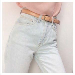 American Apparel Light Wash High Waist Mom Jeans